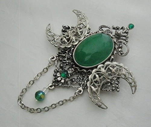 Green Onyx Triple Moon Brooch Or Cloak Pin, handmade jewelry wiccan pagan wicca goddess witch witchcraft gothic