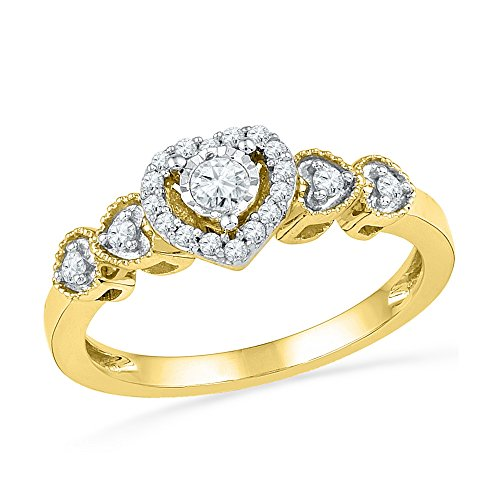 Size 7-10k Yellow Gold Round Diamond Solitaire Framed Heart Ring (1/5 Cttw)