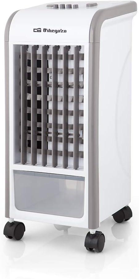 Orbegozo 1 Climatizador evaporativo 3 en 1, acumuladores de frío, depósito de 3.5 l, aletas direccionales, ruedas pivotantes, 3 velocidades, 65 W