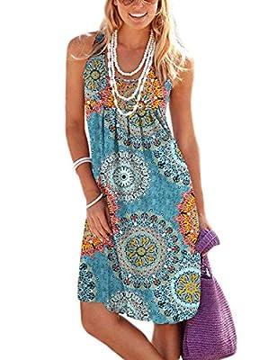 Jouica Women's Casual Summer Tank Sleeveless Knee Length Pleated Sun Dresses with Pockets