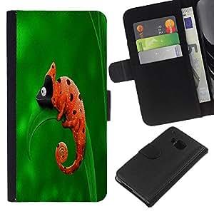 KLONGSHOP // Tirón de la caja Cartera de cuero con ranuras para tarjetas - Cute Funny Camaleón Mariquita - HTC One M7 //