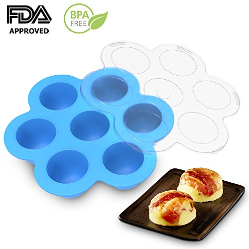 Ez Freeze Food (Silicone Egg Bites Molds by Eggcellent: Food Grade Silicone Non-Stick Multipurpose Stackable Storage Container | Flexible Baby Food Freezer Tray With Lid | Instant Pot Accessory Fits Pressure Cooker)