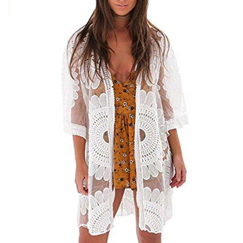 Zolimx Damen Spitze Häkeln Blumen Cardigan Top Strand Bikini Cover ...