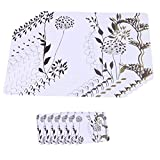 Plastic Placemats and Coaster Sets of 12 (6 White Placemats 45cm x 30cm and 6 Coasters pads)