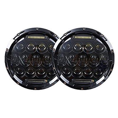 "Funlove 7"" Round LED Headlight & 4 Inch Driving Fog Light for Offroad Jeep Wrangler JK TJ LJ 2007-2014"