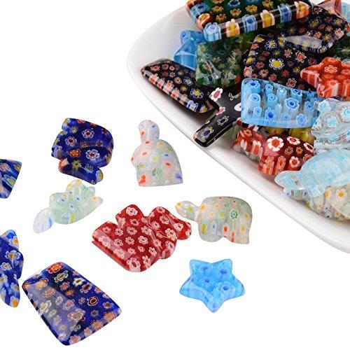 Nbeads Mixed Shape Handmade Millefiori Glass Pendants,Glass beads, Mixed Color, 21~33x12~25x4~8mm, Hole: 1~1.5mm Handmade Millefiori Glass Pendants