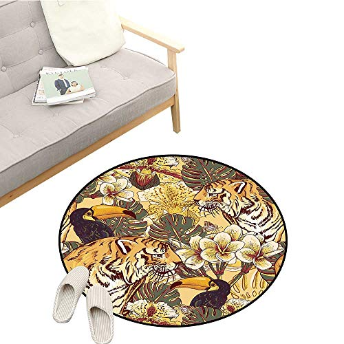 (Tiger Round Area Rug Tropical Rendition of Symbol of Bengal and Toucan Lively Colors Harmonious Nature Quick and Easy to Clean D59 Multicolor)