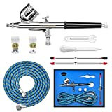 Gocheer Airbrush Set Dual-Action Gravity Feed High Airbrush Gun With 0.2 0.3 0.5mm Nozzles and Art Painting Tattoo Body Art Cake Manicure Spray Model Nail Make up + 1/8'' 5.9ft Hose
