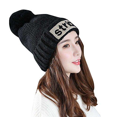 TWGONE Turban Headbands for Women Lady Fashion Plus Velvet Hat Crochet Winter Warm Cap PK(Black,One Size) -
