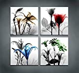 youkuart 4 Panel Flower Canvas Print Wall Art Painting for Living Room Decor and Modern Home Decorations (Four 12X12in, Blue Flower Prints Framed)
