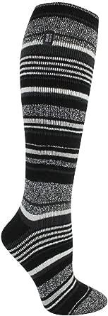 Heat Holders Women's Long LITE Socks (Black Stripe)
