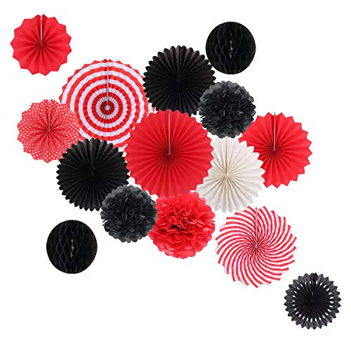 Hanging Party Decorations Set Tissue Paper Fan Paper Pom Poms Flowers and Honeycomb Ball for Wedding Birthday Bachelorette Graduation Party Decor Black Red -