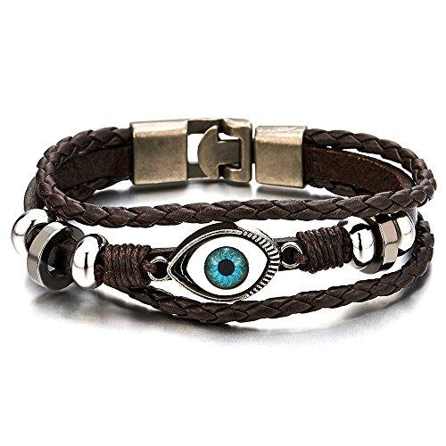 Womens Three row Leather Bracelet Wristband