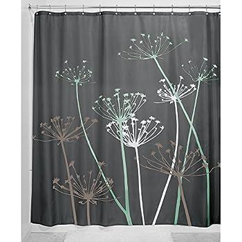 InterDesign Thistle Fabric Shower Curtain, 72 X 72 Inch, Gray/Mint