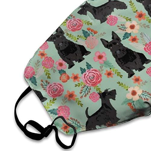 NEWINESS Premium Men Women Breathable Indoor Outdoor Half Face Mask - Adjustable Dustproof Anti Pollution Pollen Safety Medical Mouth Mask Black Scottie Dog