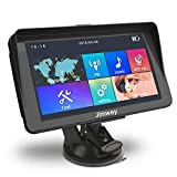 SAT NAV GPS Navigation System, 7 inch Sunshade 8GB 256MB Jimwey Car Truck Lorry Satellite Navigator Device with Post Code POI Search Speed Camera Alerts, with UK&EU 2019 Maps Lifetime Free Update