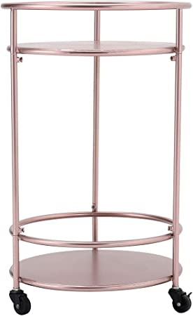 Warmiehomy Carrello di stoccaggio in metallo durevole per servire bevande bar carrello con 2 ripiani soggiorno ufficio carrello da cucina con 3 rotelle per hotel bar bagno cucina