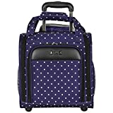 Geometric Polka Dots Design Carry On Rolling Lightweight Laptop Tote, Softsided Geo Classic Circles Themed, Multi Compartment, Fashionable, Checkpoint Friendly Soft Travel Bag, Blue, White, Size 14''