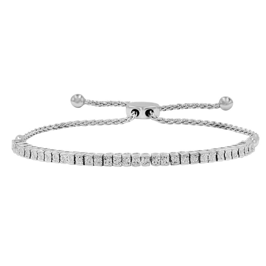 AGS Certified 1/10ct TW Diamond Tennis Bolo Bracelet in .925 Sterling Silver by Amanda Rose Collection