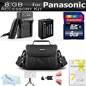 8GB Accessories Kit For Panasonic Lumix DMC-FZ200, DMC-G5, DMC-GH2, DMC-G6KK, DMC-G6, DMC-FZ300K, DMC-GX8, DMC-G7 Digital Camera Includes 8GB High Speed SD Memory Card + Extended Replacement DMW-BLC12 Battery + AC/DC Charger + Case + More