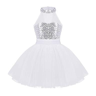 Agoky Robe de Ballet Danse Classique Tutu Justaucorps Danse Gymnastique Gym  Enfant Fille Léotard Paillettes Costume f34779e4bd4