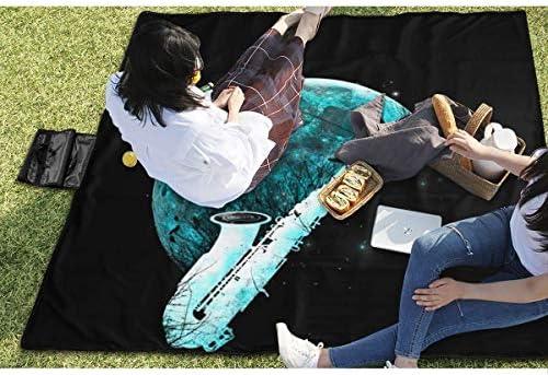 Tappetino da Picnic Tunes Cattura Tunes Strumenti Luna Piena Coperte da Picnic Stuoia Impermeabile per Famiglie 145X150 cm