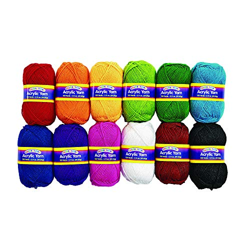 Colorations Acrylic Yarn Rainbow Colors Variety Pack Arts and Crafts Material for Kids and Classrooms (Set of 12 Colors) by Colorations (Image #6)