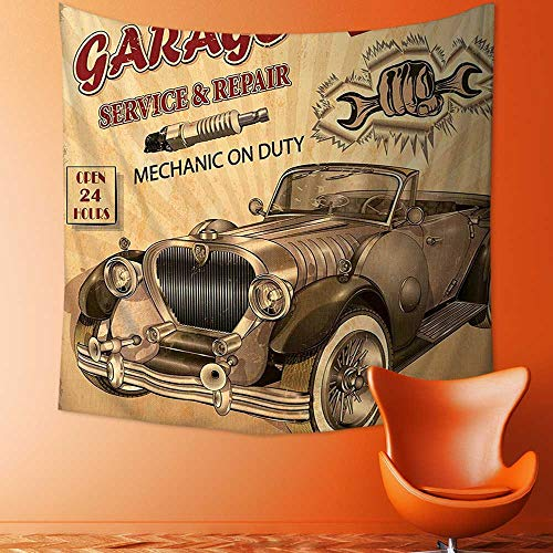 Printsonne Decorative Wall Tapestry Nostalgic Car Figure with Garage Service and Repair Store Phrase Dated Faded Sepia Decor Bedding