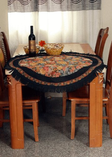 - Tache Black Country Rustic Floral Midnight Awakening 35 Inch Round Woven Tapestry Tablecloths