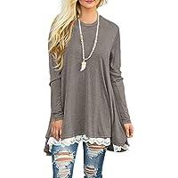 WEKILI Women's Tops Long Sleeve Lace Scoop Neck A-Line Tunic Blouse