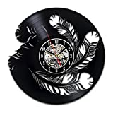 Feather Vinyl Wall Clock Hanging Presents Art Room Decor Accessories for Bedroom Decorations Artwork Home Gifts