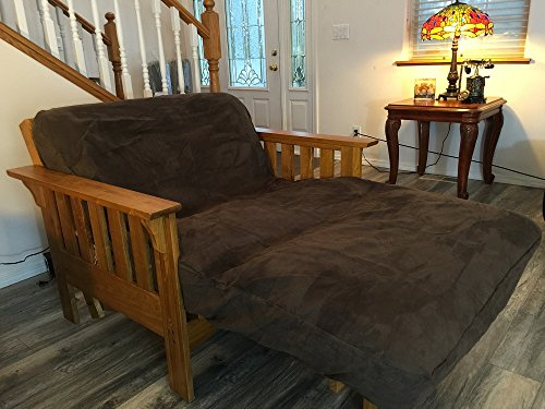 OctoRose TWIN Size Zipper Bonded Classic Soft Micro Suede Futon Cover (Brown) - Twin Futon Cover