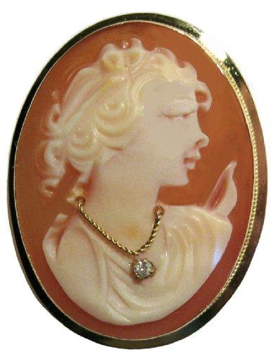 Bezel Diamond Brooch (Goddess Diana, Cameo Pin Pendant Master Carved, 14k Gold with Diamond Necklace)