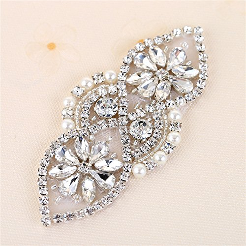 Wedding Applique Bridal Shoes Garters Headpieces Applique Sewn Iron on for Sash Crystal Belt Rhinestone Pearls Beaded Formal Gown Dress Applique (Silver-3)
