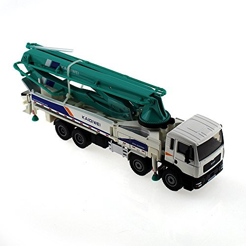 Tipmant Alloy Die-cast Vehicle Model Toy Engineering Concrete Pump Truck Car High Simulation Kids Gift 1:55 - Blue & White ()