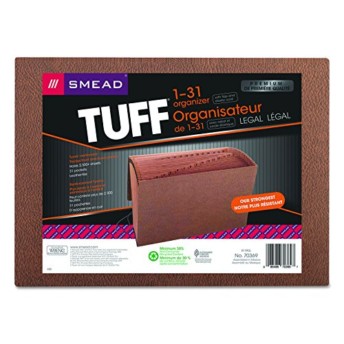 Smead TUFF Expanding File, Daily (1-31), 31 Pockets, Flap and Elastic Cord Closure, Legal Size, Redrope-Printed Stock (70369) -