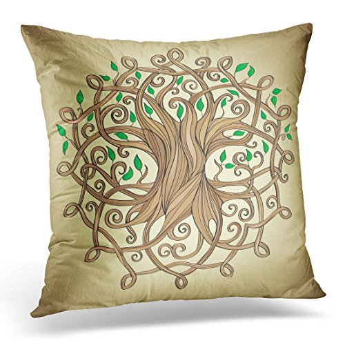 Breezat Throw Pillow Cover Knot Amazing Tree of Life in the Celtic Pattern with Leaves Roots Decorative Pillow Case Home Decor Square 18x18 Inches Pillowcase