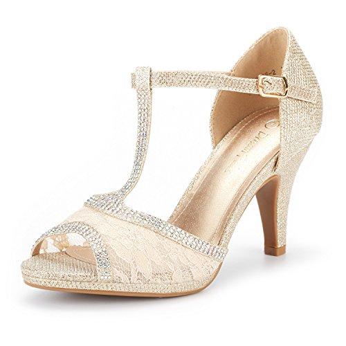 Heel High Colored - DREAM PAIRS Women's Amore_2 Gold Glitter Fashion Stilettos Open Toe Pump Heel Sandals Size 6.5 B(M) US