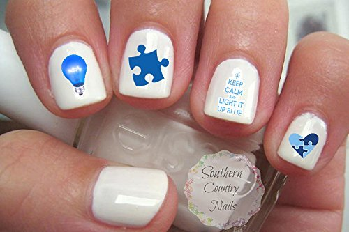 Amazon autism awareness nail art decals beauty light it up blue autism awareness nail art decals prinsesfo Images