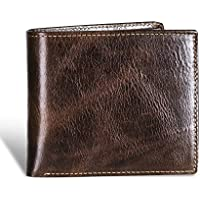 Swallowmall Mens RFID Genuine Leather Bifold Wallet