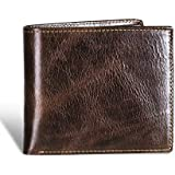 Mens wallet RFID Genuine Leather Bifold wallet for men with ID Window 10 Card Holders Gift Box
