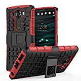 MoKo LG V10 Case - Heavy Duty Rugged Dual Layer Armor with Kickstand Protective Cover for LG V10 5.7 Inch Smartphone 2015 Release, RED