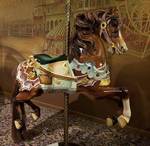 Canvas Print Merry Go Round Vintage Retro Wooden Horse Carousel Vivid Imagery Stretched Canvas 32 x 24 ()