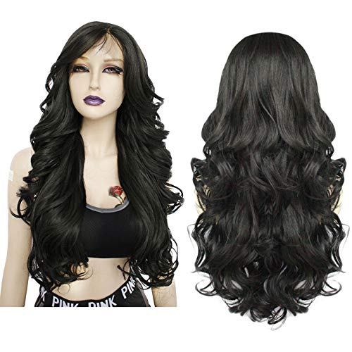 Ebingoo 28 inches Curly Synthetic Lace Front Wigs Long Black Heat Resistant Wig With Baby Hair Sexy Wavy Replacement…