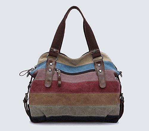 color cremallera Contraste Moollyfox las del Tipo del mujeres 1 de de bolso de rayas de la las hombro wPpqP8