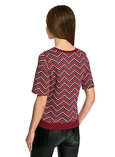 oodji Collection Mujer Suéter de Jacquard con Decoración Geométrica Rojo (294DS)