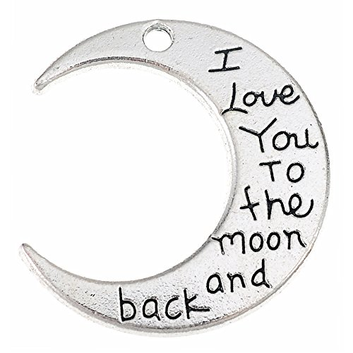 20Pcs Moon Charms Double-Sided i love you to the moon and back DIY Jewelry Making Pendant Fit Bracelet Necklace Vintage Antique Silver,Antique Bronze Crafts (Antique Silver) -