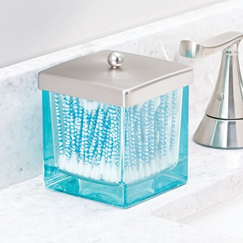 MDesign Bathroom Vanity Square Glass Storage Organizer Canister Jar, With Lid 841247191331
