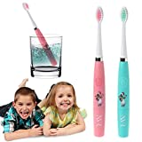Bduco Children Electric Toothbrush for Kids, Waterproof Rotary Head Replaceable Toothbrush With Charcoal Toothpaste (Pink)