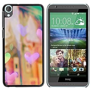 YOYOYO Smartphone Protección Defender Duro Negro Funda Imagen Diseño Carcasa Tapa Case Skin Cover Para HTC Desire 820 - corazón la noche justo luces de la ciudad de la ciudad de viñeta